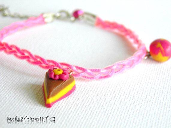 Cake charm bracelet Polymer clay cake charm by Smile2ShineArt
