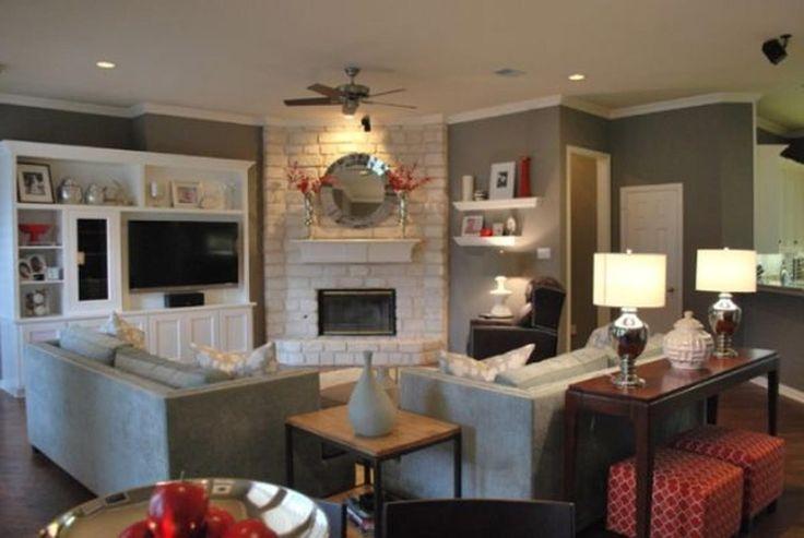 arrange furniture around a corner fireplace - Google Search
