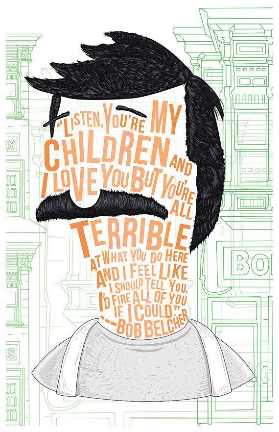 Cheveux célèbre / lignes : Bob Belcher par NateJonesDesign sur Etsy