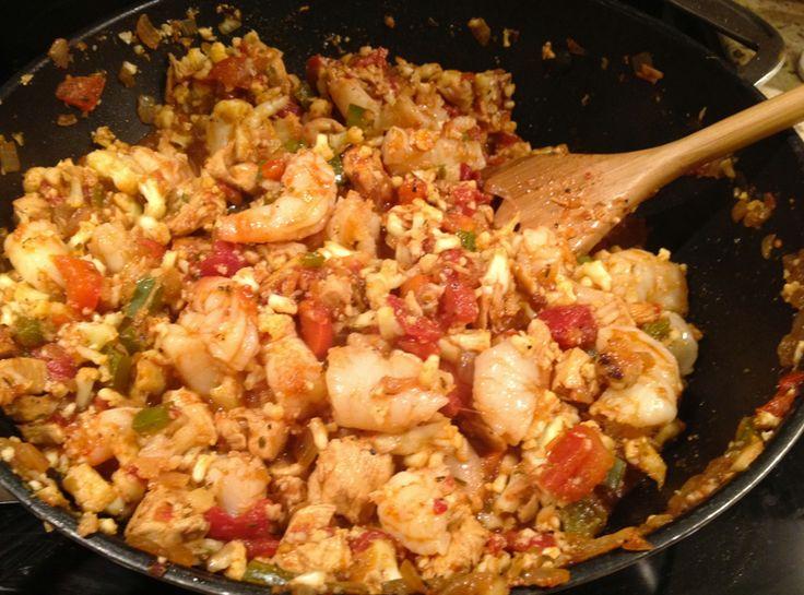 Cajun Jambalaya.  Great for SHAPE plan. Uses cauliflower rice!