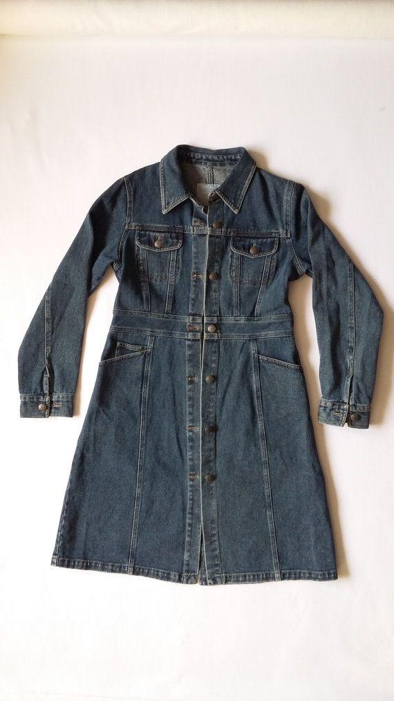 Woman Denim Long Jacket / Woman Jeans Long Coat / Vintage Girls Denim Coat / Woman 90s Long Denim Jacket / Vintage Oversize Girls Coat 90s
