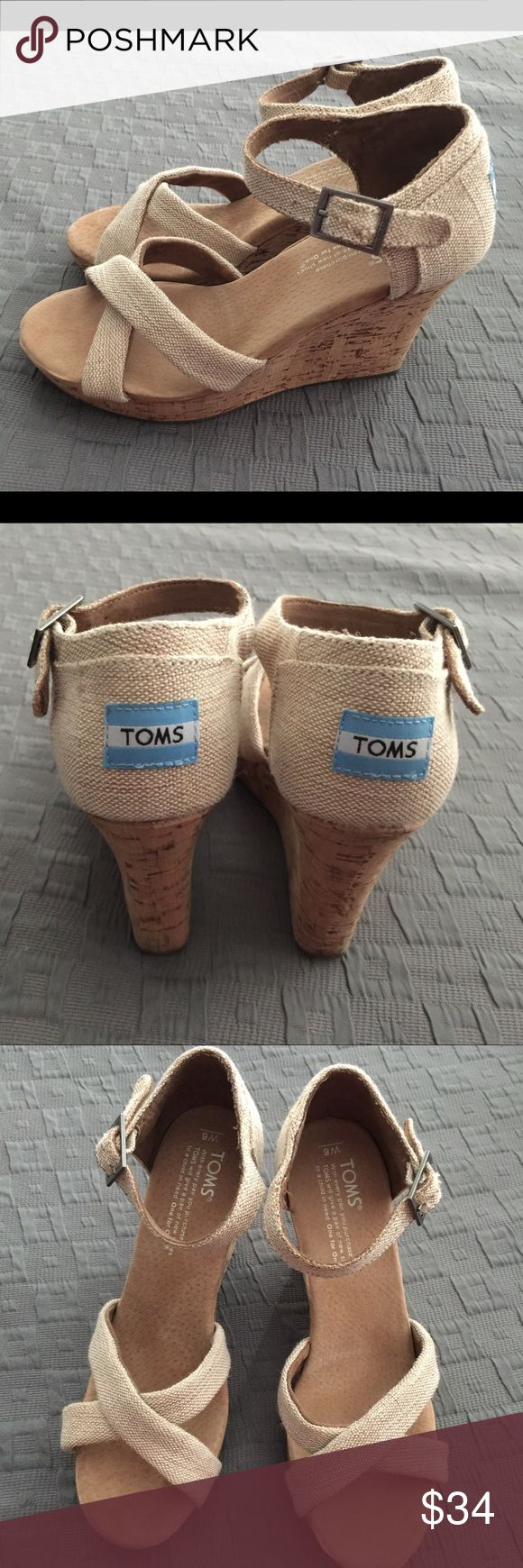Toms Espadrilles Cork Wedge Heels Size 6 Tan Toms Espadrilles, cork wedge heel, tan with buckle strap. Size 6, in like new, excellent condition. Smoke free home. TOMS Shoes Wedges