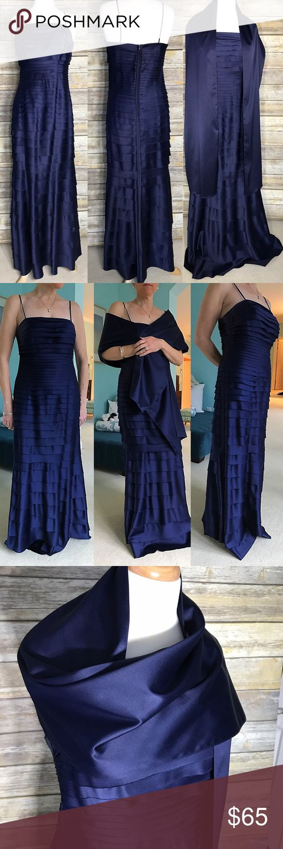 """Navy Blue Formal Gown, Spaghetti Straps, W/ Wrap Perfect Navy color in most flattering design and fabric imaginable. Horizontal Shutter pleats in nice stretch make this dress hide any bumpy bits without needing to worry about pantry lines, etc. Size 12 - could fit 10-14 because of stretch. At 5' 7"""" with 2 inch heels, still long so could wear 4 inches. Comes with matching satin wrap. One of my favorites that no longer fits. Worn 1x. Dresses Wedding"""