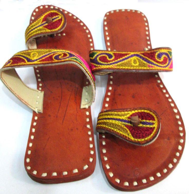 Indian Designer Handmade Leather Slippers Mojari Flip Flops Flat Women Shoes #Handmade #Casual