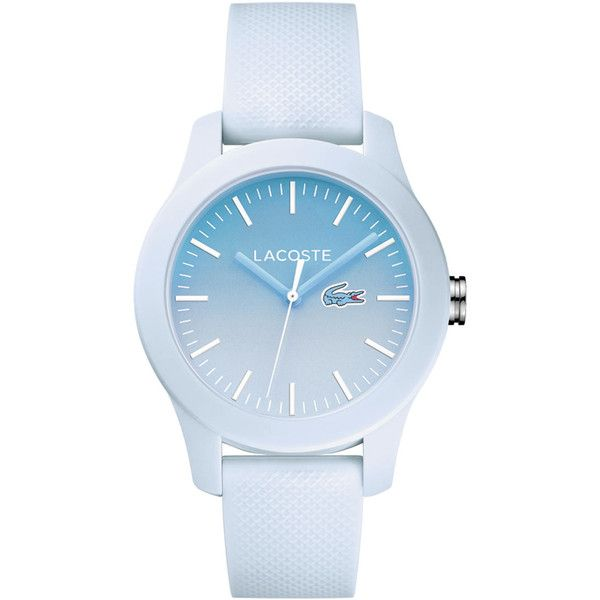Faded Blue Lacoste 12.12 Watch Watch (850 SEK) ❤ liked on Polyvore featuring jewelry, watches, accessories, bracelets, blue, petite watches, blue watches, silicone strap watches, lacoste watches and lacoste