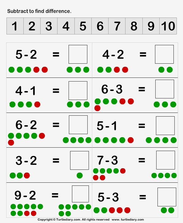 Subtraction With Dots 1 Worksheet - TurtleDiary.com