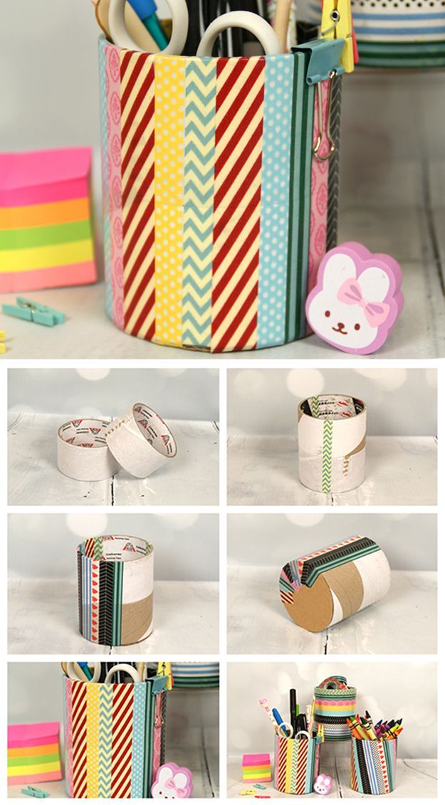 DIY Washi Tape Craft for Kids | Washi Tape Pencil Holder by DIY Ready at http://diyready.com/100-creative-ways-to-use-washi-tape/
