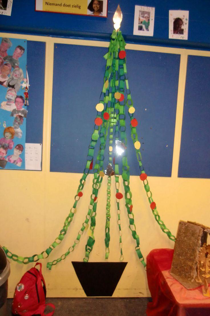 Kerstboom kan ook leuk zijn als kerstdecoratie in de klas!