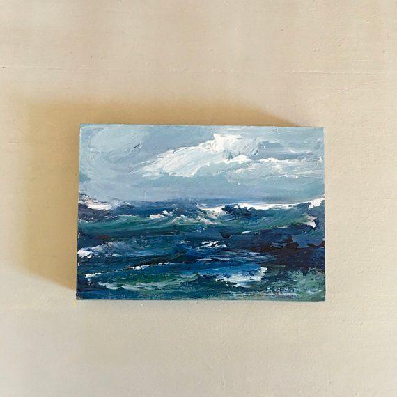 5 x 7 Original Acrylic Painting Beach Paint Pour