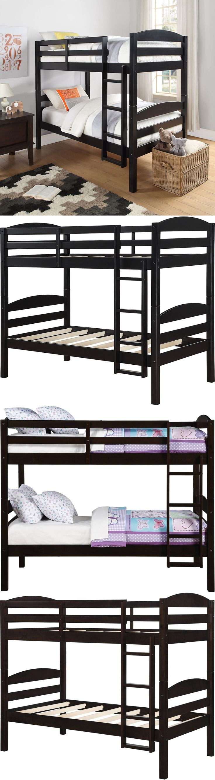 Kids Furniture: Bunk Beds Twin Over Twin For Kids Boys Girls Bunkbeds Convertible Wood Bed Black BUY IT NOW ONLY: $187.08
