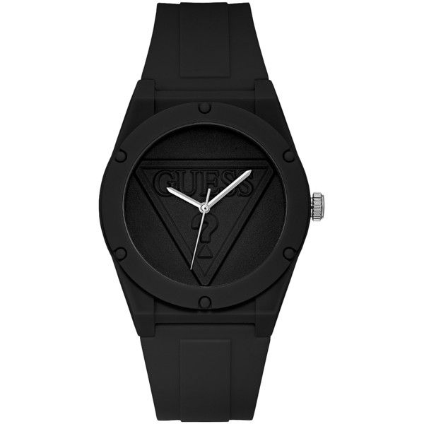 GUESS Iconic Black Sport Watch ($65) ❤ liked on Polyvore featuring jewelry, watches, analog watches, guess watches, guess jewellery, sport watch and dial watches