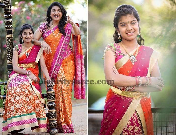 Roja And Her Daughter Half Sarees