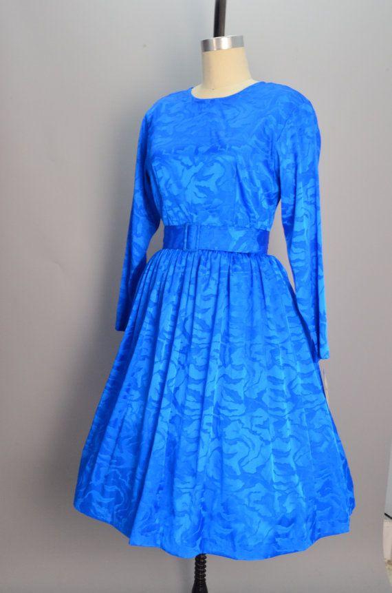 1980s cobalt blue dress 80s does the 50s size medium by melsvanity, $58.00