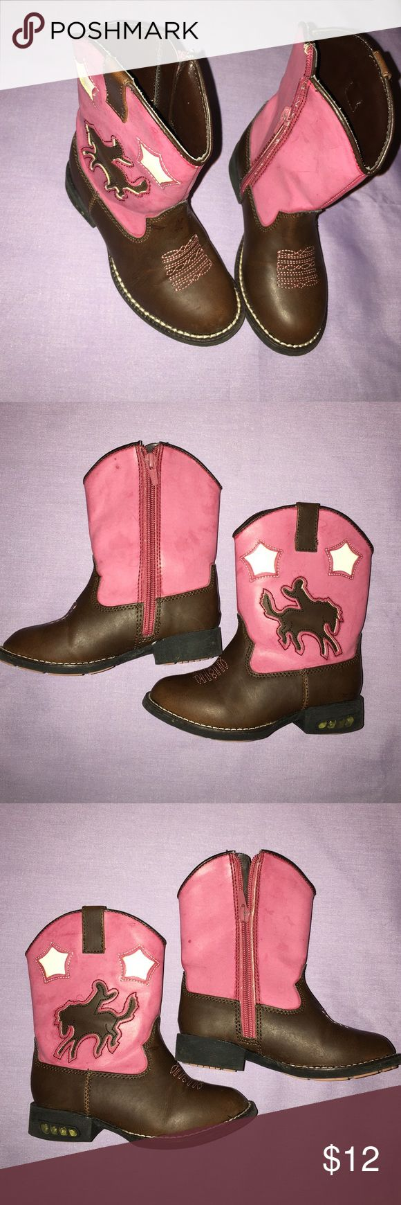 Roper size 8 infant pink cowgirl/cowboy boots Roper pink cowboy boots size 8 infant. In great shape. The pink part of the boot has faint water  marks. They are not dirty, ripped or stained. Roper Shoes Boots