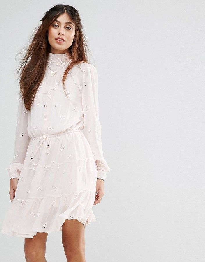 Vila High Broderie Detail Tiered Smock Dress
