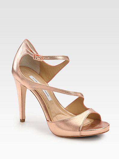 Diane von Furstenberg - Juliette Metallic Leather Platform Sandals - i like this rosy/coppery color