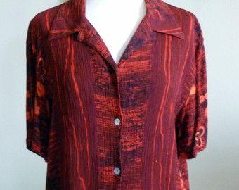 TÚNICA de Borgoña túnica de seda roja cuello v por saragambarelli