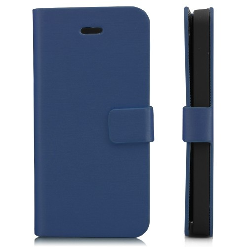 Wallet Shaped Magnetic Satin Material Leather Case  for iPhone 5-Dark Blue