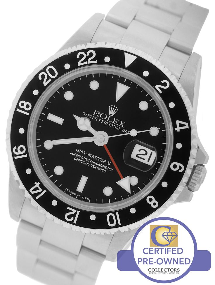 MINT Men's Rolex GMT-Master II 16710 Black 40mm Stainless Steel Date Watch SEL