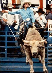 5/20/1988: Champ bull rider Lane Frost became the first cowboy to ride Red Rock to the 8-second bell. In the previous 8 years, 312 cowboys had tried unsuccessfully to ride the rodeo circuit's toughest bull.