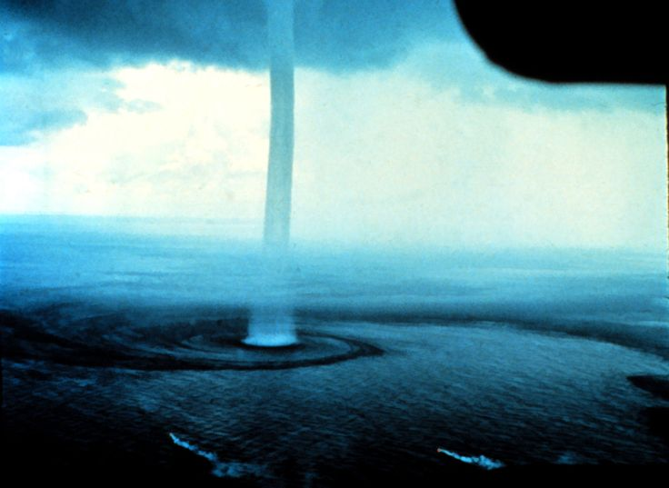 "trefoiled: ""Waterspout, Florida 1969. The two flares with smoke trails near the bottom of the photograph are for indicating wind direction and general speed. NOAA National Weather Service Collection. """