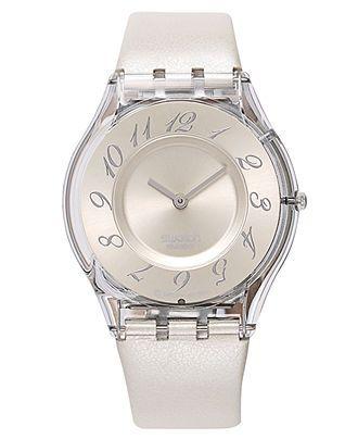 Swatch Watch, Women's Swiss Panna Montata White Leather Strap 34mm SFK199 - Swatch - Jewelry & Watches - Macy's