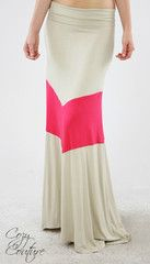 Taupe and Coral Chevron V Maxi Skirt