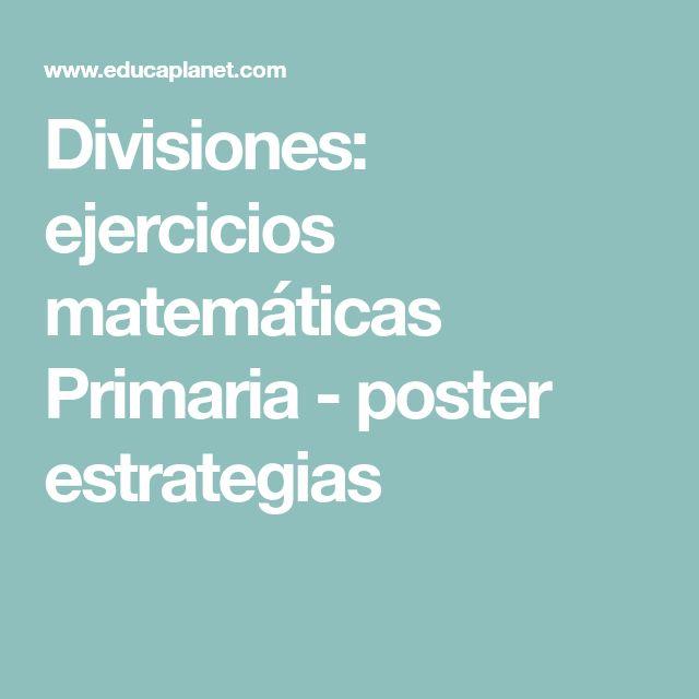 Divisiones: ejercicios matemáticas Primaria - poster estrategias
