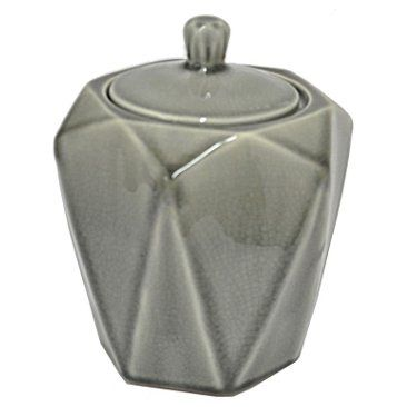 "Check out this item at One Kings Lane! 7"" Faceted Ceramic Jar, Gray"