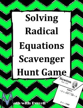Do you need a fun way for your students to practice solving radical equations?  This scavenger hunt is a great way to get students moving around the classroom and practicing their math skills at the same time!  Algebra 2
