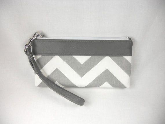 Chevron Wristlet Clutch with Faux/Vegan Leather Trim - Gray & White on Etsy, $33.00