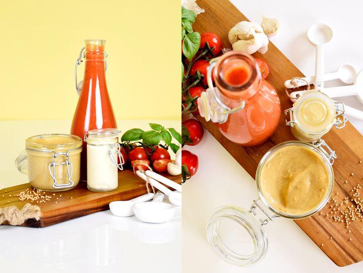 DIY Ketchup, mustard and mayo. (Recipe in Swedish)
