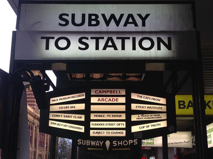 Subway to Station on Flinders St, Melbourne