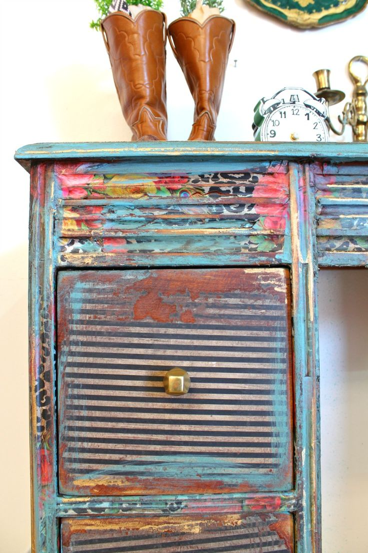 How To Decoupage A Desk With Tissue Paper   Refunk My Junk   Decoupage  Furniture Makeover