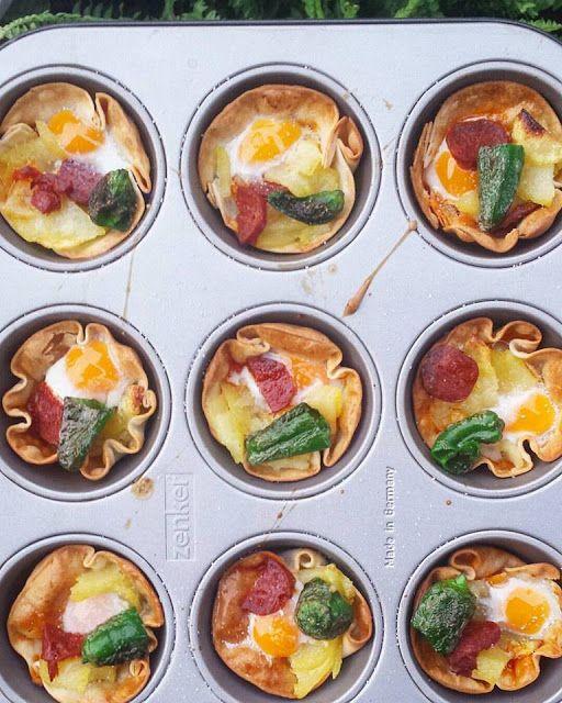 Les receptes que m'agraden: Tartaletas de huevos estrellados con chorizo y pimiento del Padrón
