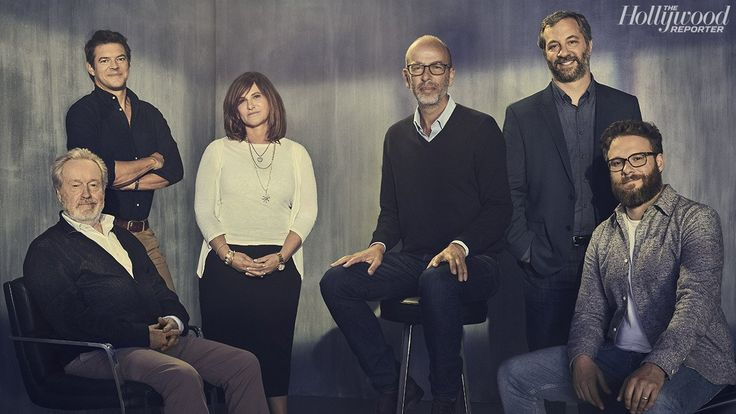 From left: Ridley Scott, Jason Blum, Amy Pascal, Eric Fellner, Judd Apatow and Seth Rogen