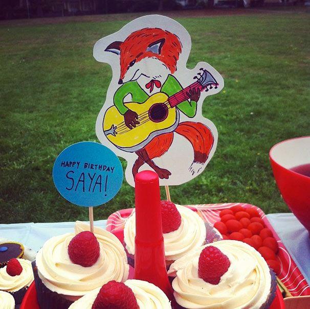 fox playing guitar cake topper!