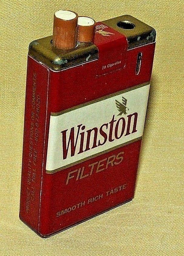 WINSTON CIGARETTES LIGHTER EMPTY FILTER PACK LITE VINTAGE KOREA 7-2
