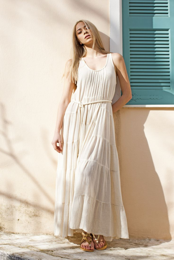 Haris Cotton, Linen Gauze Dress 975 Off White