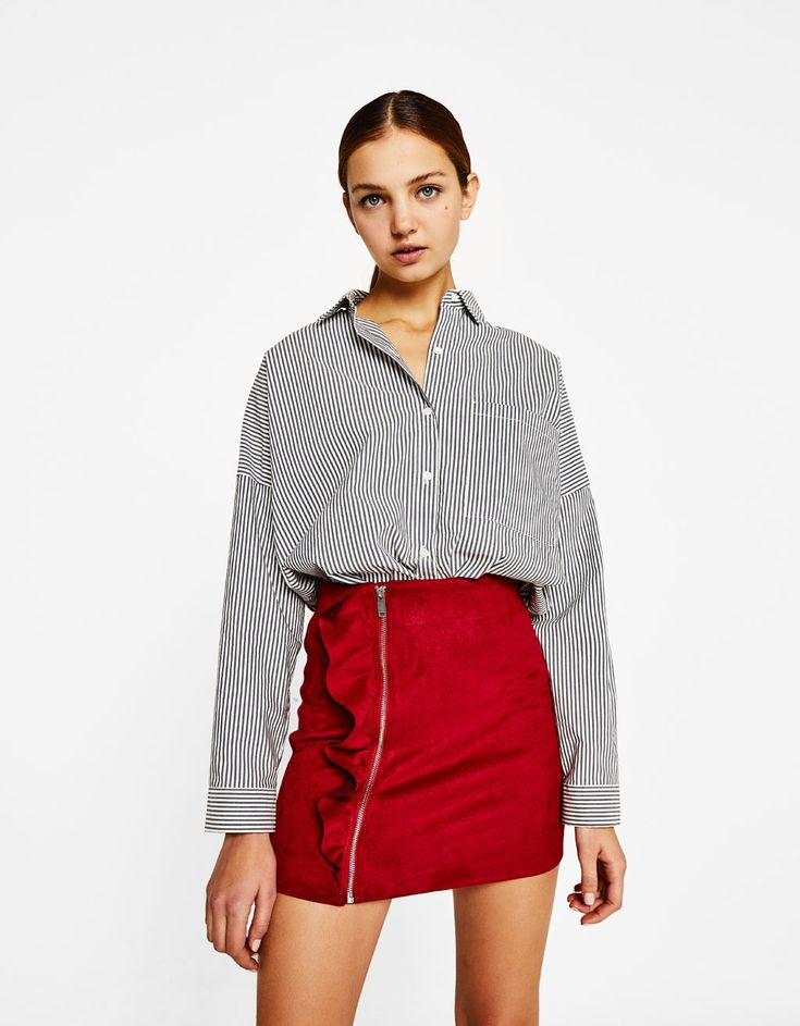 Imitation suede skirt with frill - Szoknyák - Bershka Hungary