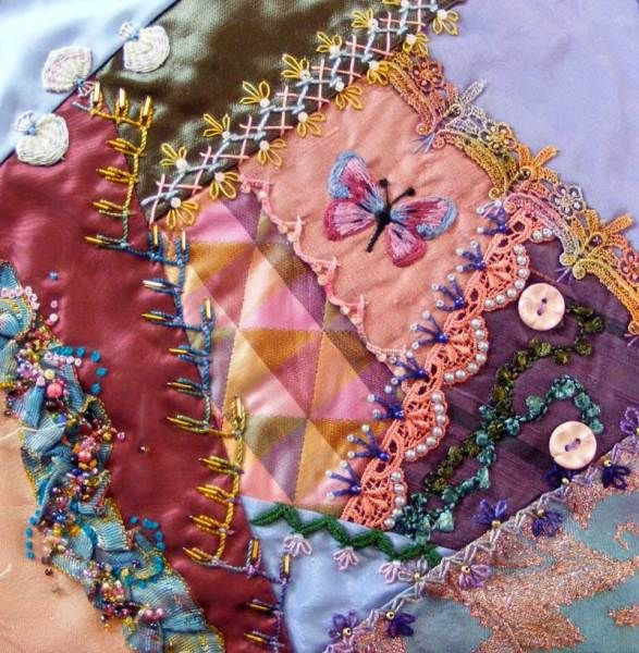 I ❤ crazy quilting & embroidery . . .  8 inch crazy quilt block ~By SharonB, PinTangle