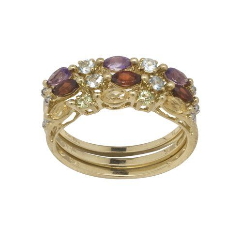 Multi Color Gemstone and Diamond Accent Stackable Rings in 10k Yellow Gold >>> Want additional info? Click on the image. (This is an Amazon Affiliate link and I receive a commission for the sales)