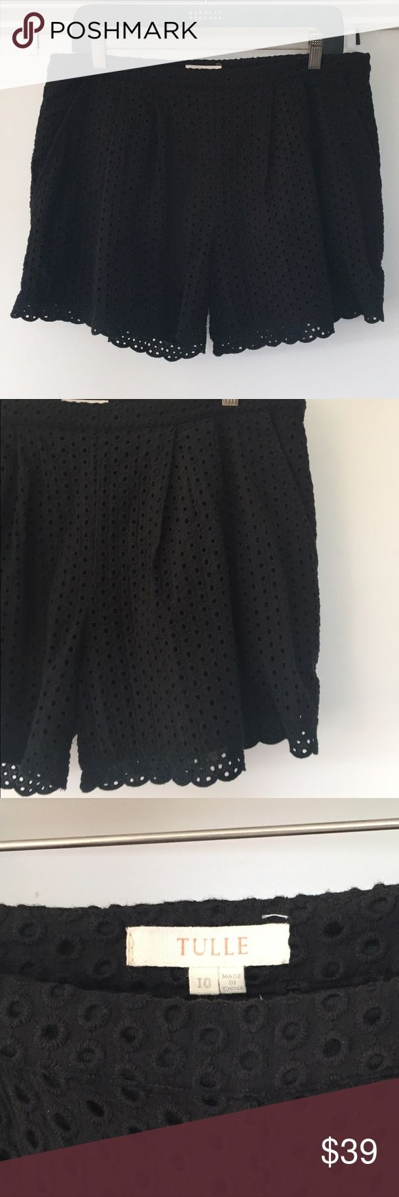 Eyelet Shorts Boho Festival Style These black eyelet shorts have a side zip which is very figure flattering. Worn only once and in excellent condition. Great eyelet detail at hem. Tulle Shorts