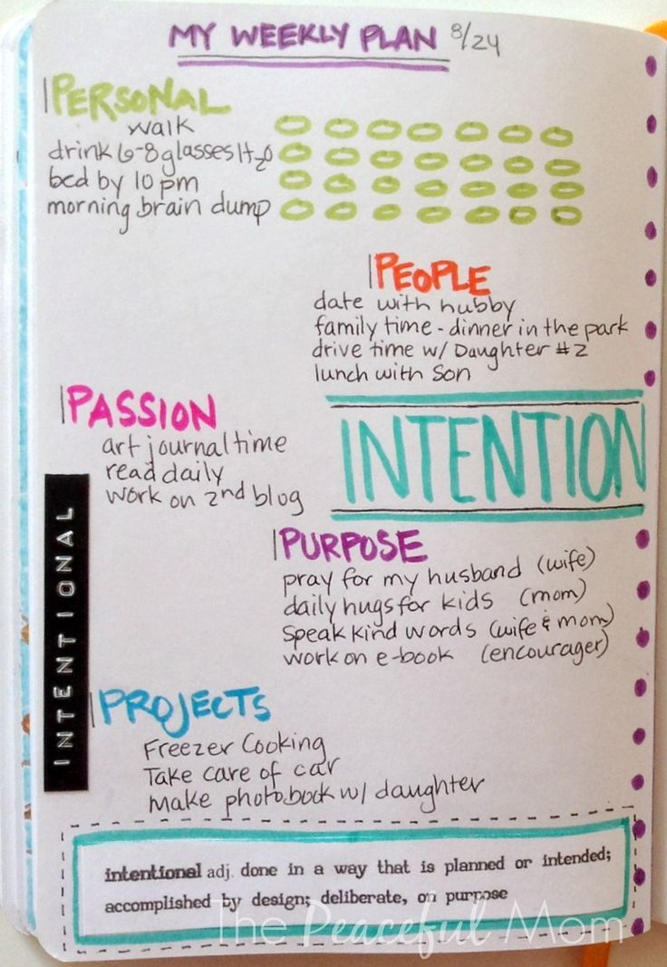 My Weekly Plan - by The Peaceful Mom -- this might be a good weekly tool for my bullet journal...