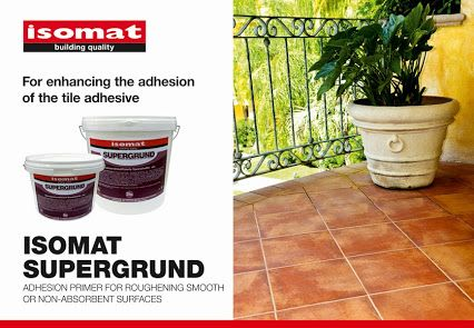 For fixing tiles on smooth and non-absorbent substrates, use the new #primer ISOMAT SUPERGRUND that roughens the substrate, enhancing the adhesion of the tile adhesive. #ISOMAT SUPERGRUND can be applied on plenty substrates, such as old #tiles, marble, natural stone, cement-based industrial floorings, wooden, metal or PVC floorings, tarpaulin (linoleum), as well as #floorings with in-floor heating.