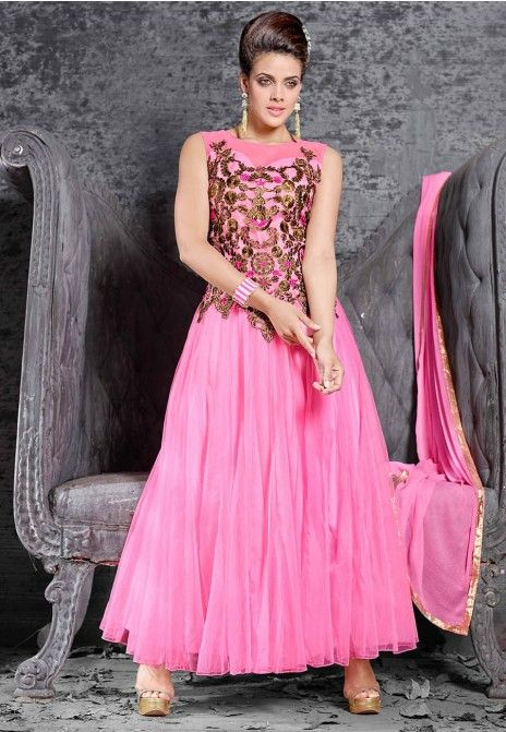 Pink Net Semi Stitched Party Wear Gown