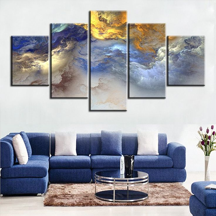 5 Pc Set Blue Yellow Grey Abstract Cloud NO FRAME Oil Painting Canvas Prints Wall Art