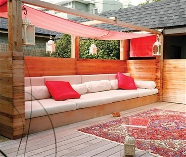 Pallet Patio Sectional | This is much graceful covered pallet sofa design having red and while ...