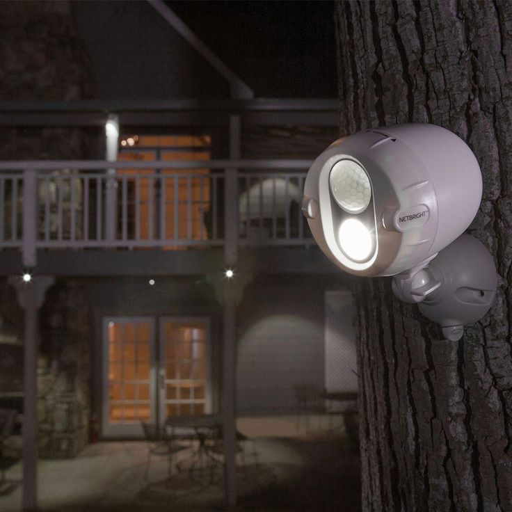 Battery outdoor lights you can mount on a tree. Mr Beams Networked Wireless Motion Sensing Outdoor LED Spot Light System with NetBright Technology, 200-Lumens (2-Pack)