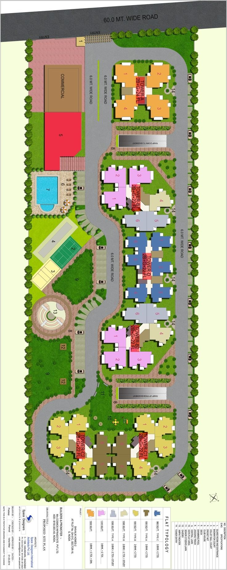 Shivalik Homes 2 Project in Noida Extension is Facing with 130 Mtr wide road And will have dedicated car parking in the basement for every apartment .This project will have large club House as well as a Communicty facility centre inside.